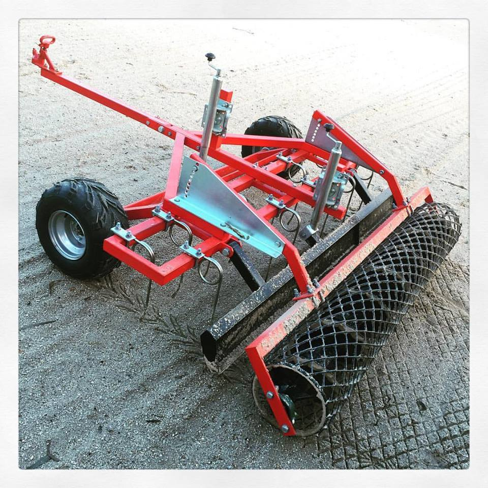 Adjustable arena Rake Roller for sand and synthetic surfaces