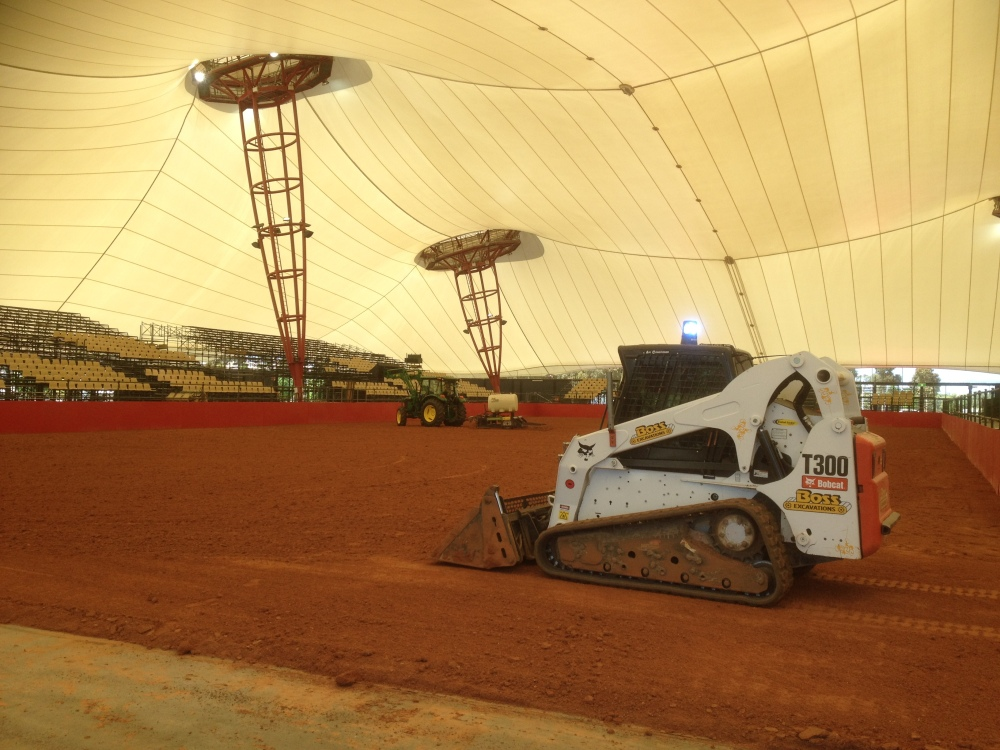 Boss Excavations constructing horse arena at Equitana