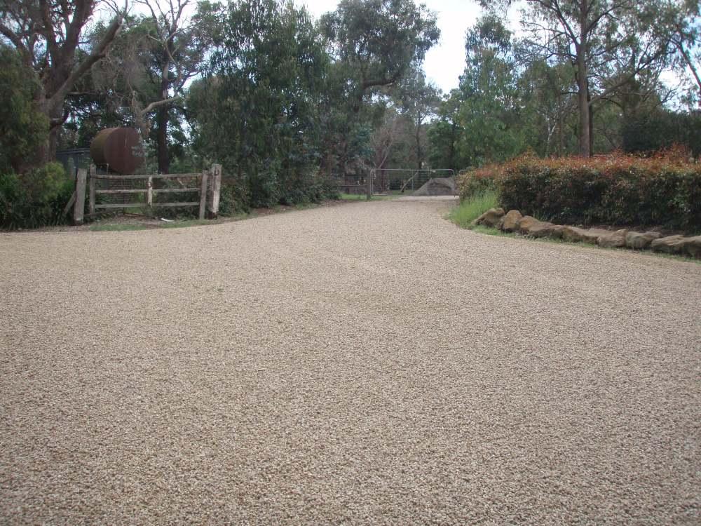 Brown stone driveway