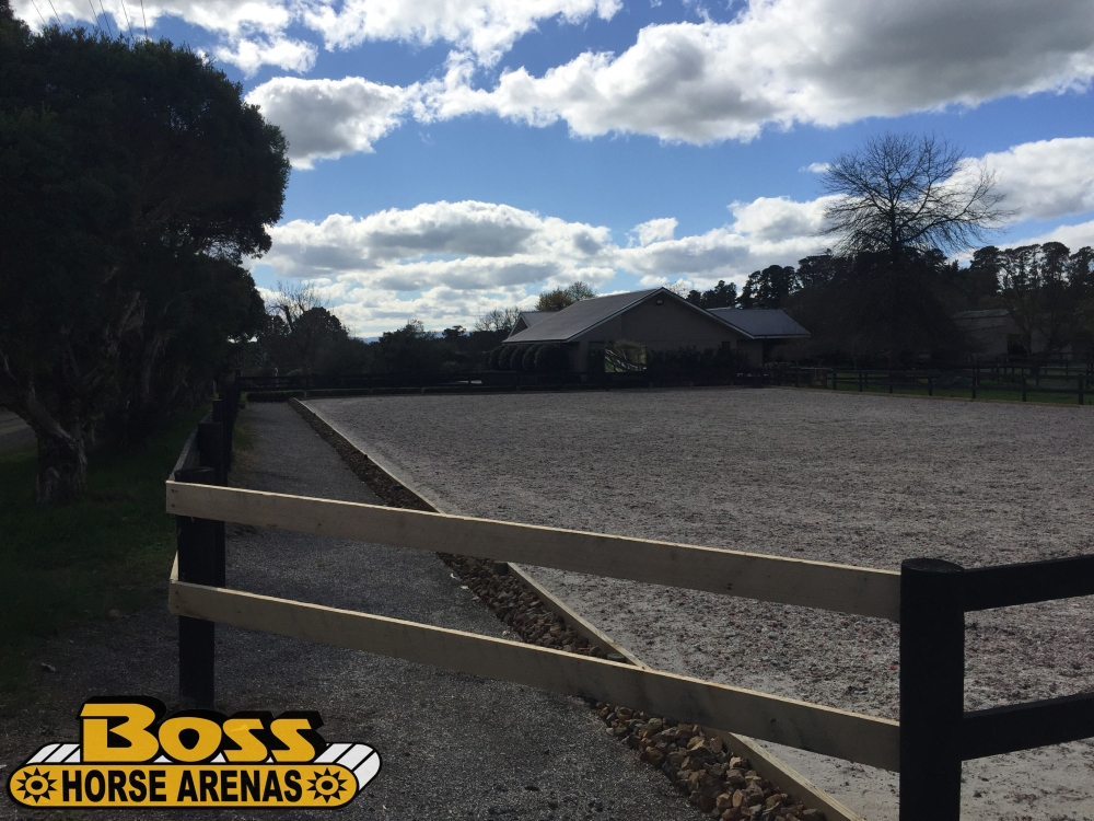 Geotextile horse arena and fence