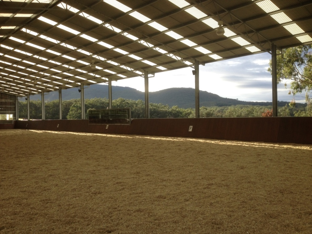 Geotextile indoor dressage arena