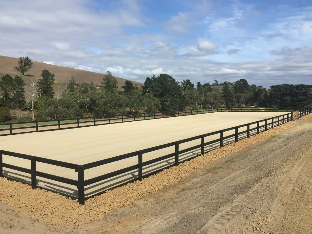 New sand dressage arena with fencing