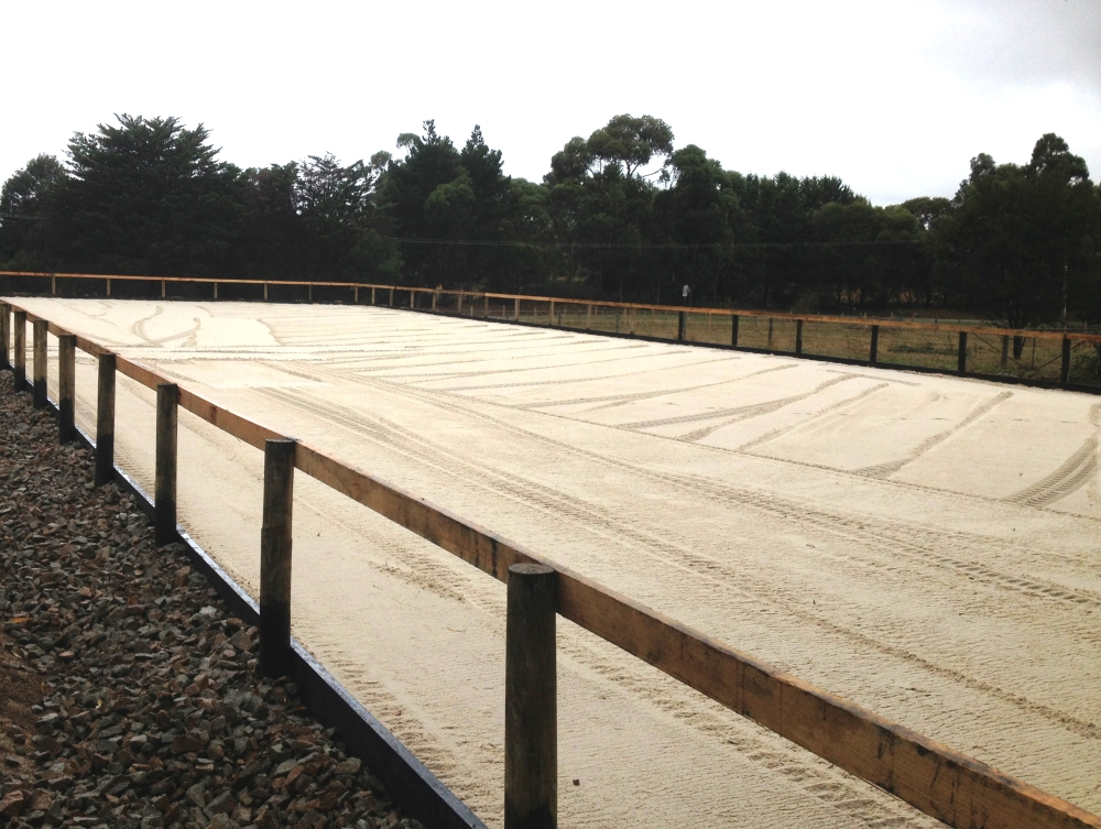 Outdoor sand dressage arena